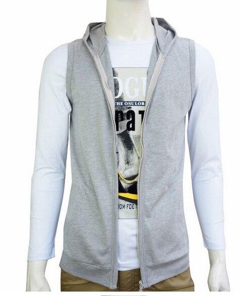 New summer Korean men sleeveless waistcoat hooded cardigan thin ...
