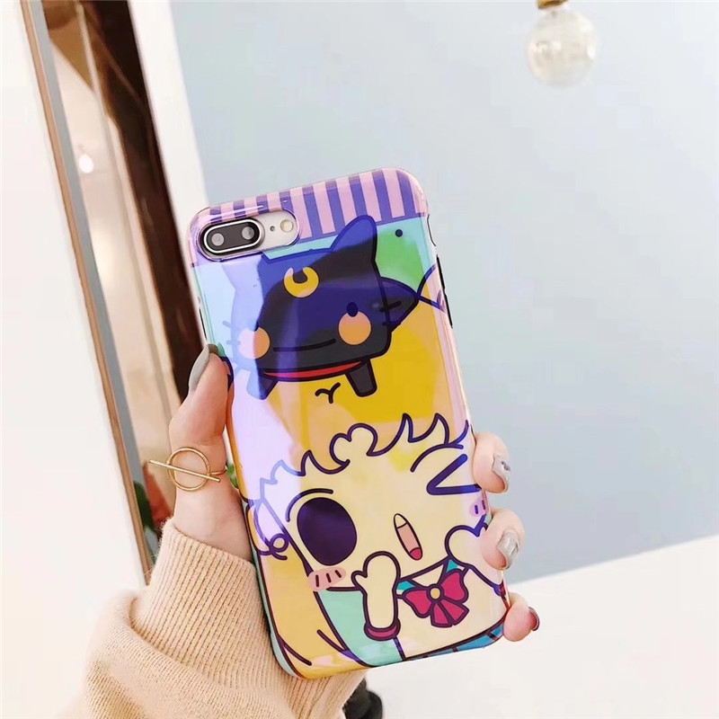 Blue Light Ray Case Lovely Japan Cartoon Sailor Moon Luna Cat Pattern Phone IMD Cover For iPhone X 6 6s Plus 7 8 Plus Capa Coque
