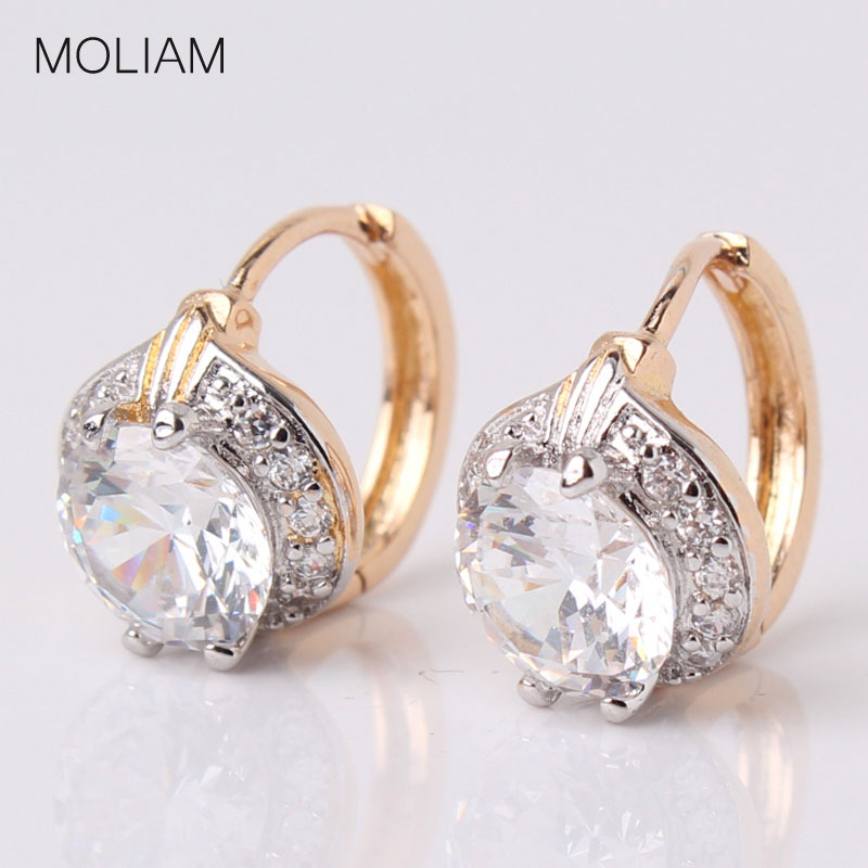 MOLIAM Smart Chic White Zircon Earring Lady Small Huggie Hoops Pendientes para mujer Brinco Jewelry MLE150