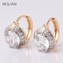 MOLIAM Smart Chic White Zircon Earring Lady Small Huggie Hoops Earrings for Women Brinco Jewelry MLE150