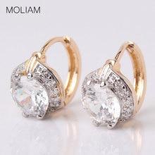 White Zircon Earring Lady Small Huggie Hoops Earrings for Women Brinco Jewelry MLE150