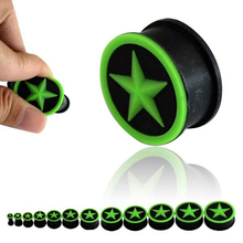 4-25mm Green Star Silicone Ear Plugs Body Jewelry Conspicuous Soft Ear Plugs Gauges Flexible Plug for Ears 0 Gauge Plug Tunels(China)