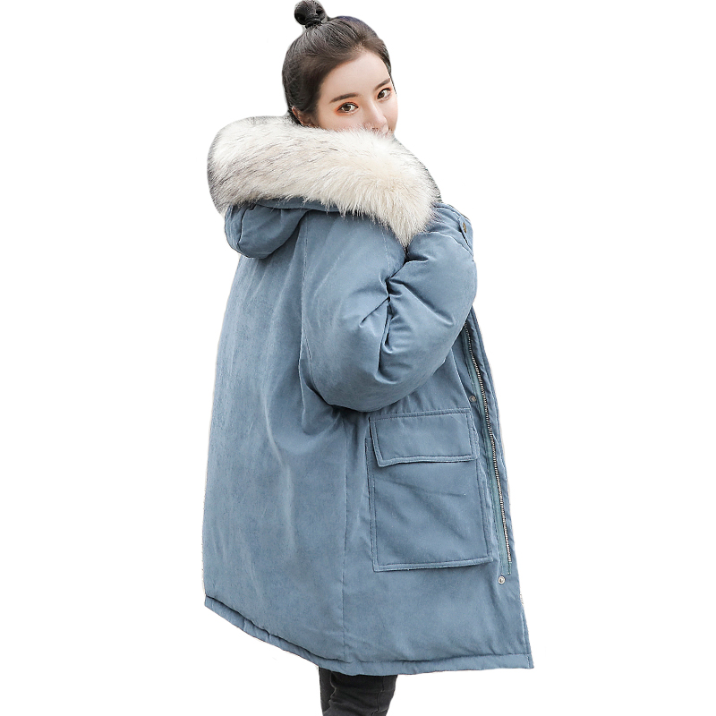 2019 Fashion Women Winter Jacket Oversized With Fur Hooded Female Winter Parka Long Warm Thicken Two Big Pockets Womens Coat