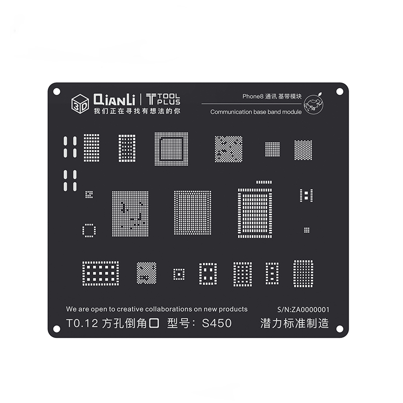 Estêncil bga de aço preto 3d para iphone 8 p/8/7 p/7/6sp/6 s/6 p/6/5S/5 módulo de banda base de comunicação estanho plantio placa de reballing