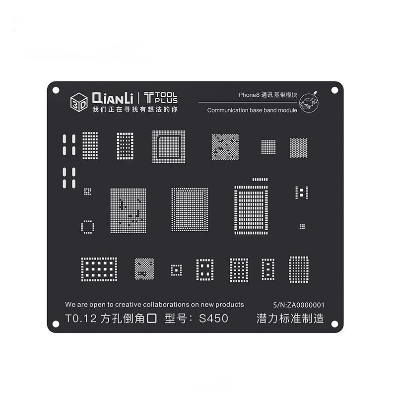 Pochoir BGA en acier noir 3D pour iPhone 8 P/8/7 P/7/6SP/6 S/6 P/6/5 S/5 Module de bande de base de Communication