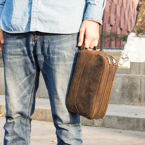 Image 5 - CONTACTS مجنون الحصان البقرة حقيبة منتجات تجميل جلدية للرجال السفر حقيبة مستحضرات تجميل سعة كبيرة غسل أكياس رجل يشكلون أكياس المنظم