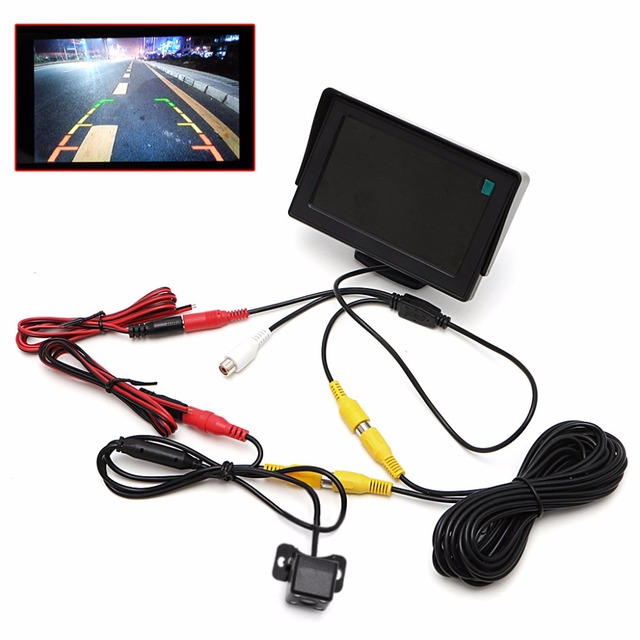 2 In1 Car Parking 4.3 incg TFT LCD Color Display Monitor+Waterproof Rearview Reversing Camera Night Vision 4 LED Lights