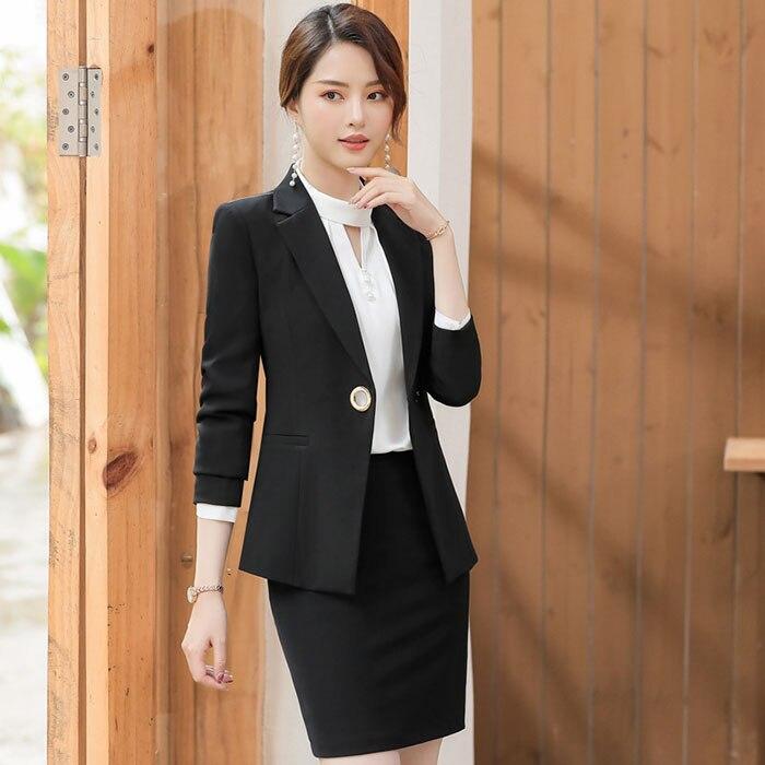 12f5f6d81 Aliexpress.com: Comprar 2019 Ol Oficina señora mujer trabajo de negocios  uniforme temperamento manga Blazer + falda elegante traje Formal de calidad  de ...