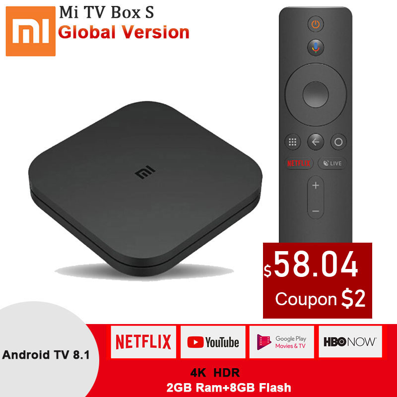 Xiaomi Mi S Smart TV Box Android 8.1 4K HDR Quad Core 2.4G/5.8G WIFI Google Cast