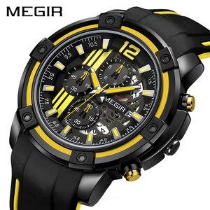 Image 2 - Megir grande mostrador de quartzo relógios masculinos com cronógrafo silicone militar relógio esporte masculino moda relógios de pulso