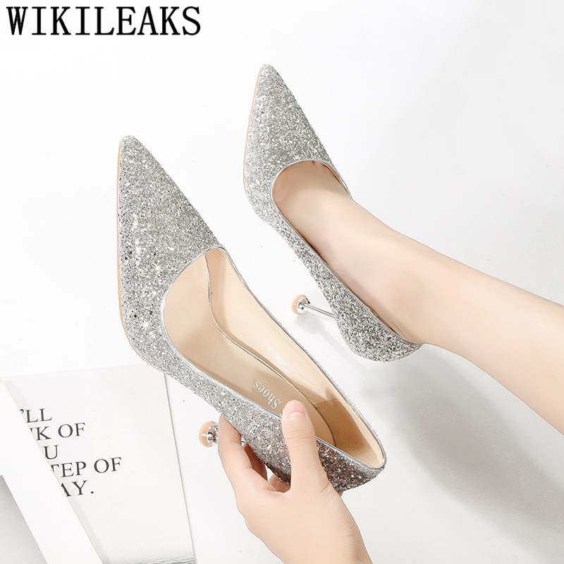 Wedding White Pumps: Wedding Shoes White Glitter Heels Gold Shoes New Arrival