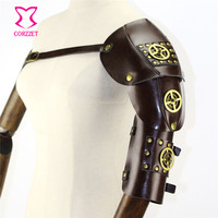 Brown PU Leather With Gold Gearwheel & Rivet Vintage Steampunk Arm Armor Anime Cosplay Props Halloween Party Gothic Accessories