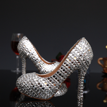 2018 Elegant Silver Round Toe Woman Platform Shoes Crystal High Heels Shoes Rhinestone Lady's Party Proms Plus Size 34 - 43
