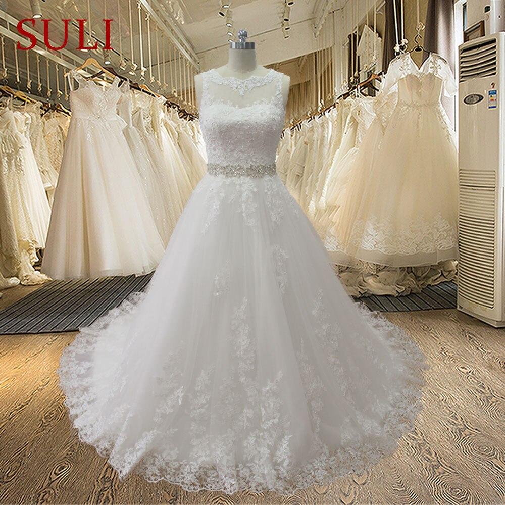 SL-020989 Modest A-linje Sweetheart Appliqued Spets Beaded Belt Backless Wedding Dress