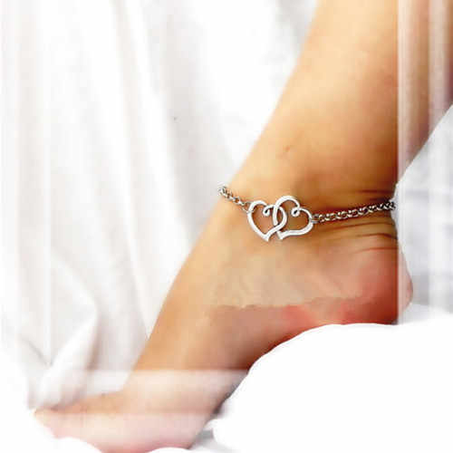 Wholesale Double Heart Anklets Simple Silver Chain Anklet Bracelet on leg Fashion Beach Anklets For Women Foot Jewelry