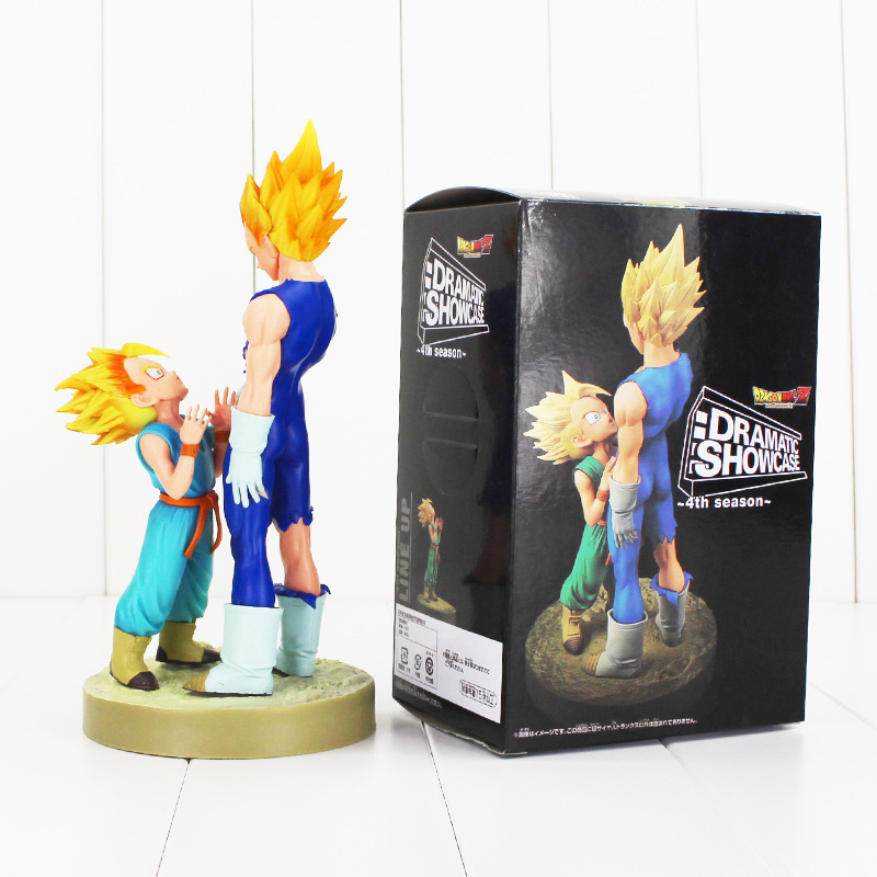 New arrival 20cm Dragonball Vegeta Trunks father with son Goku PVC Action Figures DRAMATIC SHOWCASE Dragon Ball Z Model Toy bragon ball z figures toy model son goku pvc action figure toys dragonball children kids gift free shipping