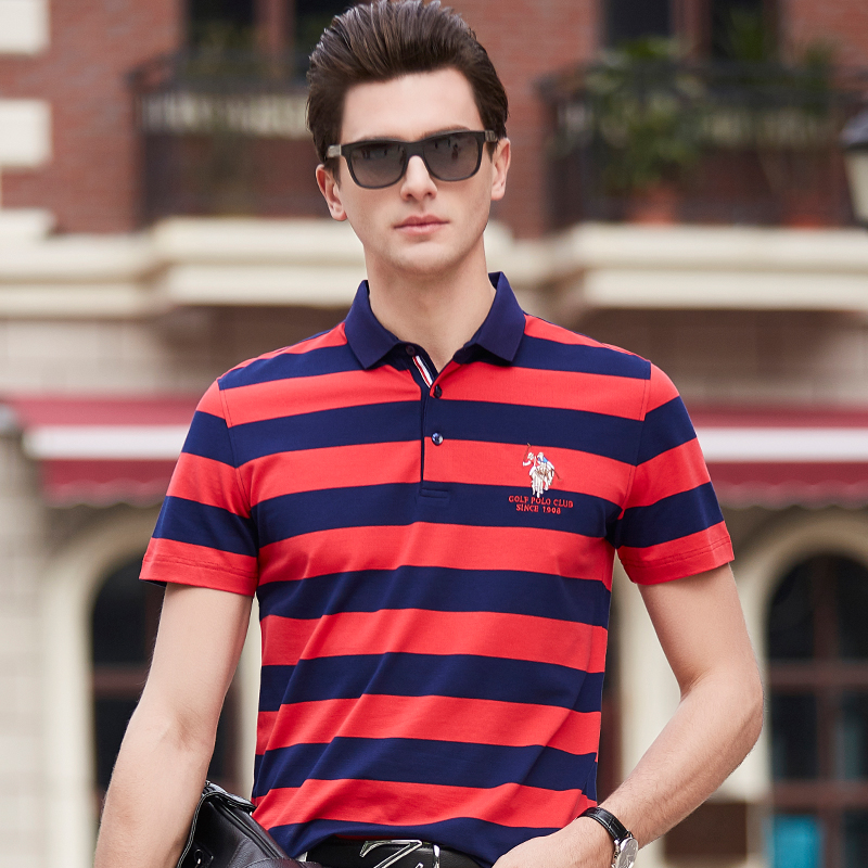 Men's Clothing Tops & Tees Summer Fashion Menswear Business Casual Short Sleeve Polo Shirt Men Striped Lapel Paul Shirt Youth Embroidery Men Dress Pink