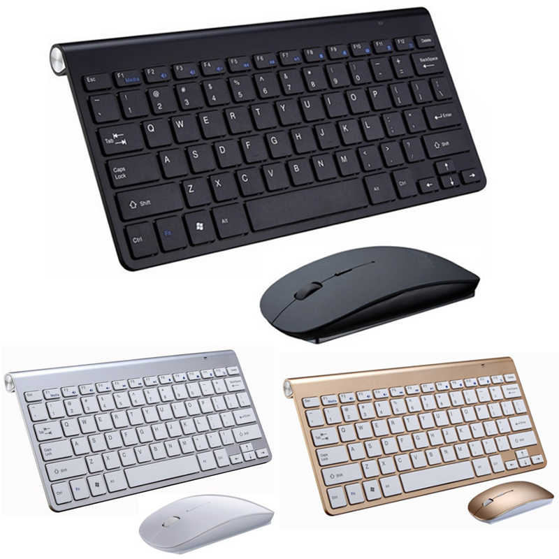 Portable Mini Wireless Keyboard 2.4GHz Komputer Multimedia Keyboard Mouse Set Combo untuk Laptop Desktop MAC PC Notebook Smart TV