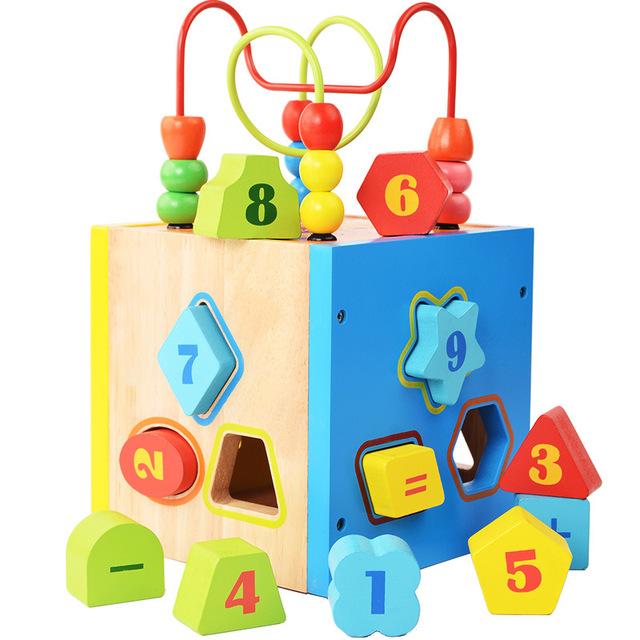 DIY bebê Aprendizagem & Brinquedos Educativos De Madeira Multi-função de Caixa de Fio Do Talão Labirinto Roller Coaster Brinquedos Presentes Das Crianças Dos Miúdos ZS069