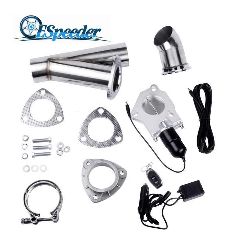 ESPEEDER 2.25 Stainless Steel Headers Y Pipe Electric Exhaust Cutout Kit With Remote Control Exhaust Cut Out Catback Downpipe