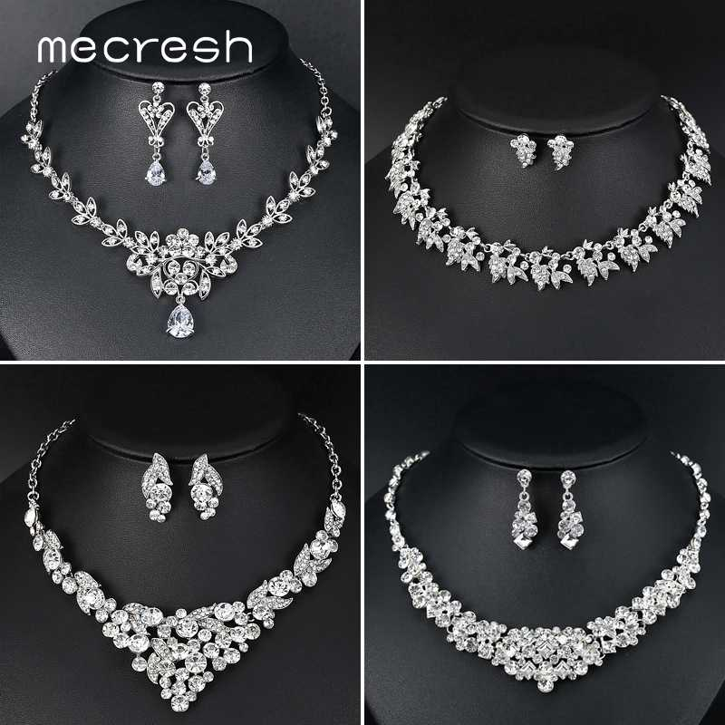 Mecresh Crystal Leaf Bridal Jewelry Sets for Women 2019 Fashion Jewelry Bride Silver Color Wedding Necklace Earrings Set TL513