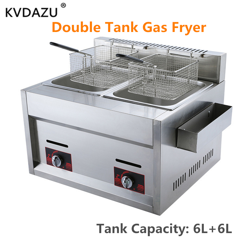 Double Cylinder Gas Fryer Two Tanks Frying Machine Energy Saving Fryer Stainless Steel French Fries Machine chicken row cookerDouble Cylinder Gas Fryer Two Tanks Frying Machine Energy Saving Fryer Stainless Steel French Fries Machine chicken row cooker