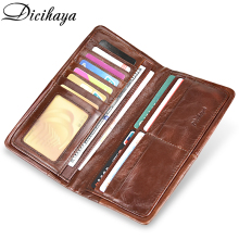 DICIHAYA 100% Guarantee Genuine Leather Wallet Men Long Vintage Cow Casual Purse Brand Design High Quality Wallets
