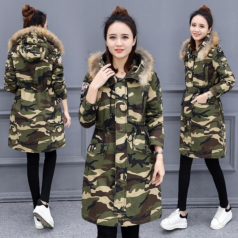 Long Winter Jacket Women 2019 New Camouflage Pattern Hooded Cotton Parka Women Causal Big Fur Collar Down Jacket Coat Femme