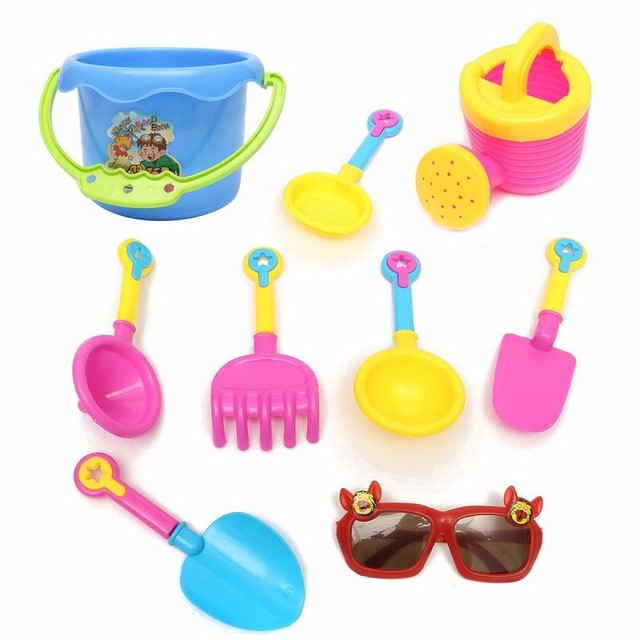 Children Beach toy 9pcs Kid Seaside Excavating Tools sand Playing tools Spade Shovel Sunglasses Outdoor Fun Hourglass Paddle Set