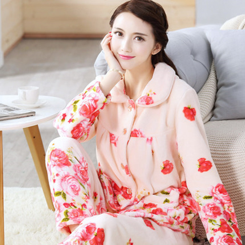 5a7ae61f6e Female Winter Pajamas Set Warm Sexy Flannel Pyjamas Polyester Full Trousers  Lady Two Piece Cute Cartoon Home Sleepwear Clothes -in Pajama Sets from ...