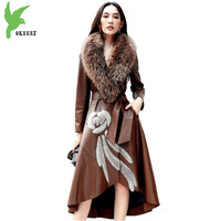 Высокое качество дубленка Осенне зимняя Дамская обувь норки Лисий мех теплые пальто Модные женские натуральная кожа куртка 2101