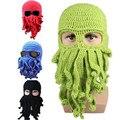 Зима теплая ручной вязание шерсть забавный ктулху борода осьминог шляпы маска шапки-мало крючком щупальце шапочки мужчины женщины мужская