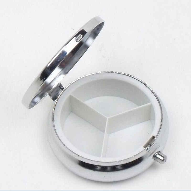 3 携帯ラウンドシルバー金属タブレットピルボックスホルダー金属ラウンド医学ケース小ケースシルバータブレットピルボックス容器