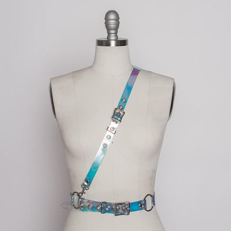 Punk Gothic Handmade Leather Transparent Clear PVC Blue Pink Black VInyl Halter Choker Harness Body Bondage Waist Belt Straps