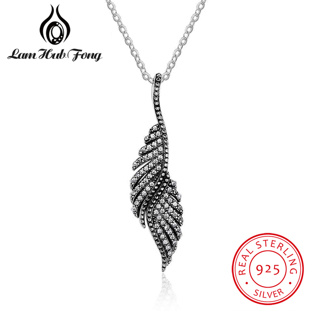 Real 925 sterling silver angel wing feather pendant necklace for real 925 sterling silver angel wing feather pendant necklace for women cz cubic zirconia vintage party aloadofball Images