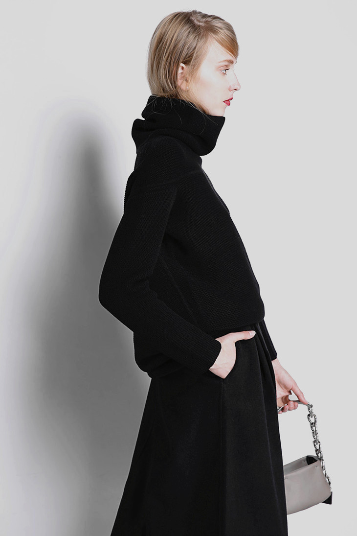 BELIARST New Autumn and Winter Cashmere Sweater Women's High Collar Thick Solid Color Sweater Loose Knit Sweater Wild Pullover 14
