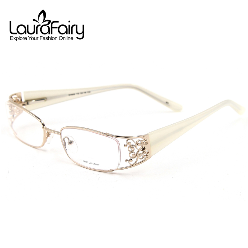 Laura Fairy Fashion Hollow Design Wide Temples Kvinnor Eyeglass Frame Eyewear Elegant Beautiful Glasses for Women