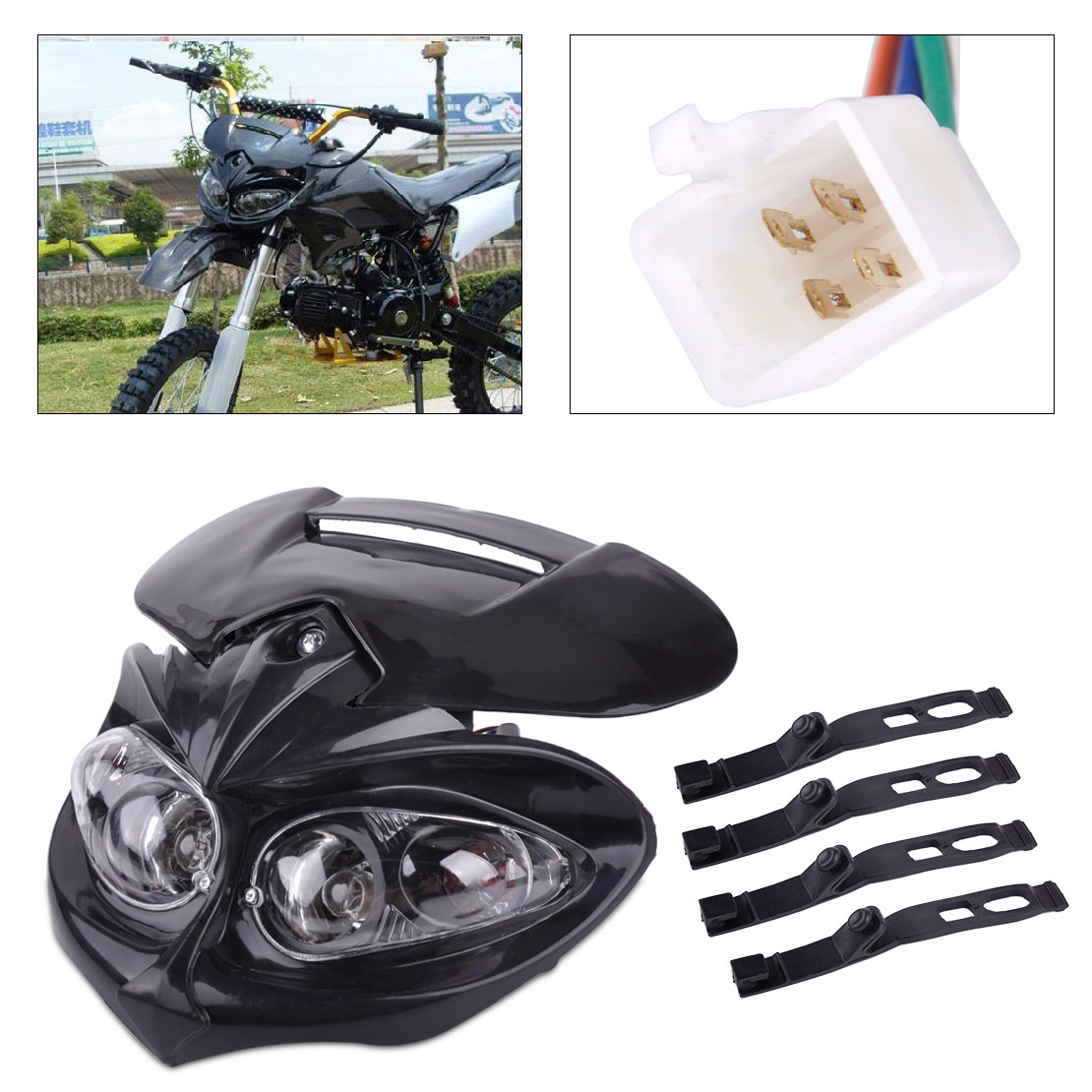 beler 5 Pin Motorcycle Front Head Dual Sport Light Lamp Fairing with Mounting Strap Fit for Street Fighter Off-road Street Ran image