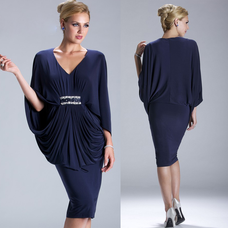 Popular Knee Length Navy Blue Mother of The Bride Dresses-Buy ...