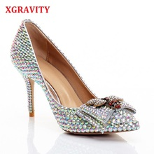 XGRAVITY Shallow Genuine Leather Super High Heel Pointed Toe Dress Shoes Colorful Crystal Woman Bridal Bee Pumps Sexy C317