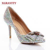 XGRAVITY Shallow Genuine Leather Super High Heel Pointed Toe Dress Shoes Colorful Crystal Woman Bridal Bee Pumps Sexy Shoes C317