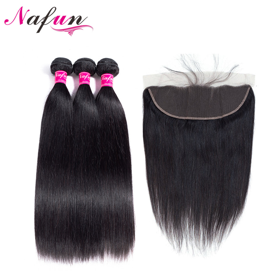 NAFUN Hair Brazilian Straight Human Hair Bundles With Lace Frontal Closure 100% Non-Remy Human Hair 3 Bundles With Lace Frontal