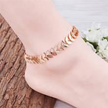 DoreenBeads Women Girl Anklet Gold Color Leaf Pattern Fashion Jewelry Foot Bracelet Jewelry Beach 21.5cm(8 4/8″) long, 1 PC