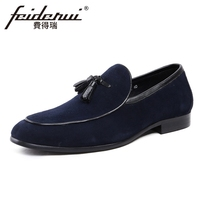 New Fashion Comfortable Cow Suede Leather Men S Loafers Round Toe Slip On Height Increasing Handmade