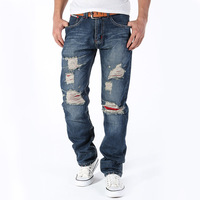 2015 Fashion Ripped Jeans Men Slim Printed Jeans Classic Models Wholesale Fashion Hole Jeans Male Red