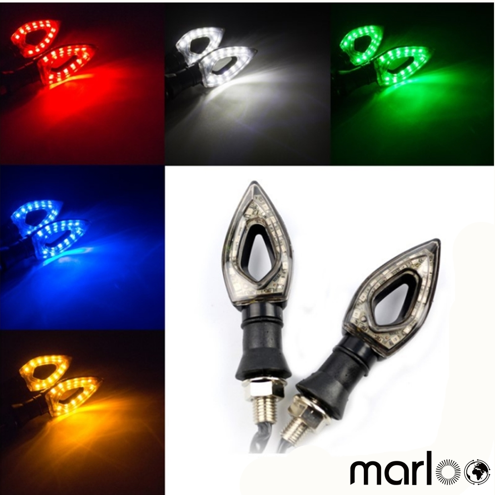 Marloo Universal Motorcycle Turn Signals LED Turn Signal Light Motorbike Indicators Flashers Blinkers For BMW Honda Kawasaki
