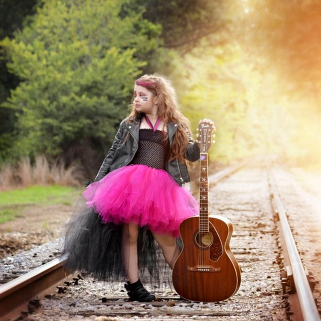 hot pink and black tulle rockstar girls dress outfit for halloween costume little girl tutu dress