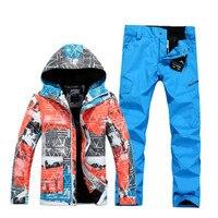 GSOU снег водонепроницаемый дышащий Лыжный костюм Зима борту Куртки брюки Лыжная куртка мужчин Горные лыжи костюмы для мужчин