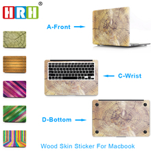 HRH 3 in 1 Wood Vinyl Decal Skin Sticker Guard For Macbook Air 11 13 Retina Pro 13 15 inch ,body cover for macbook 12 inch цена