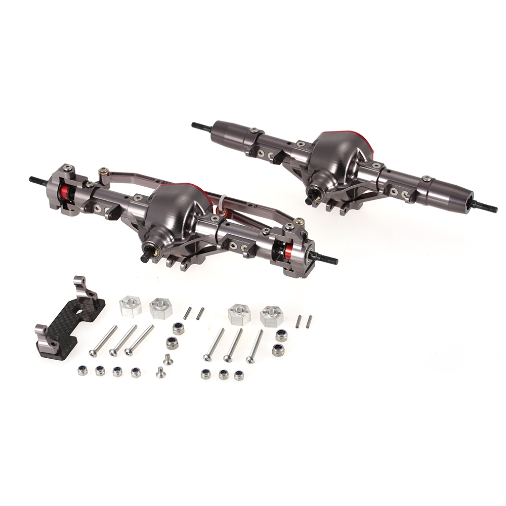 Eje delantero y trasero de Metal de aleación de aluminio CNC con engranaje de acero para coche RC 1/10 RC orugas coche AXIAL SCX10 montaje DIY de coches Honcho-in Partes y accesorios from Juguetes y pasatiempos    1